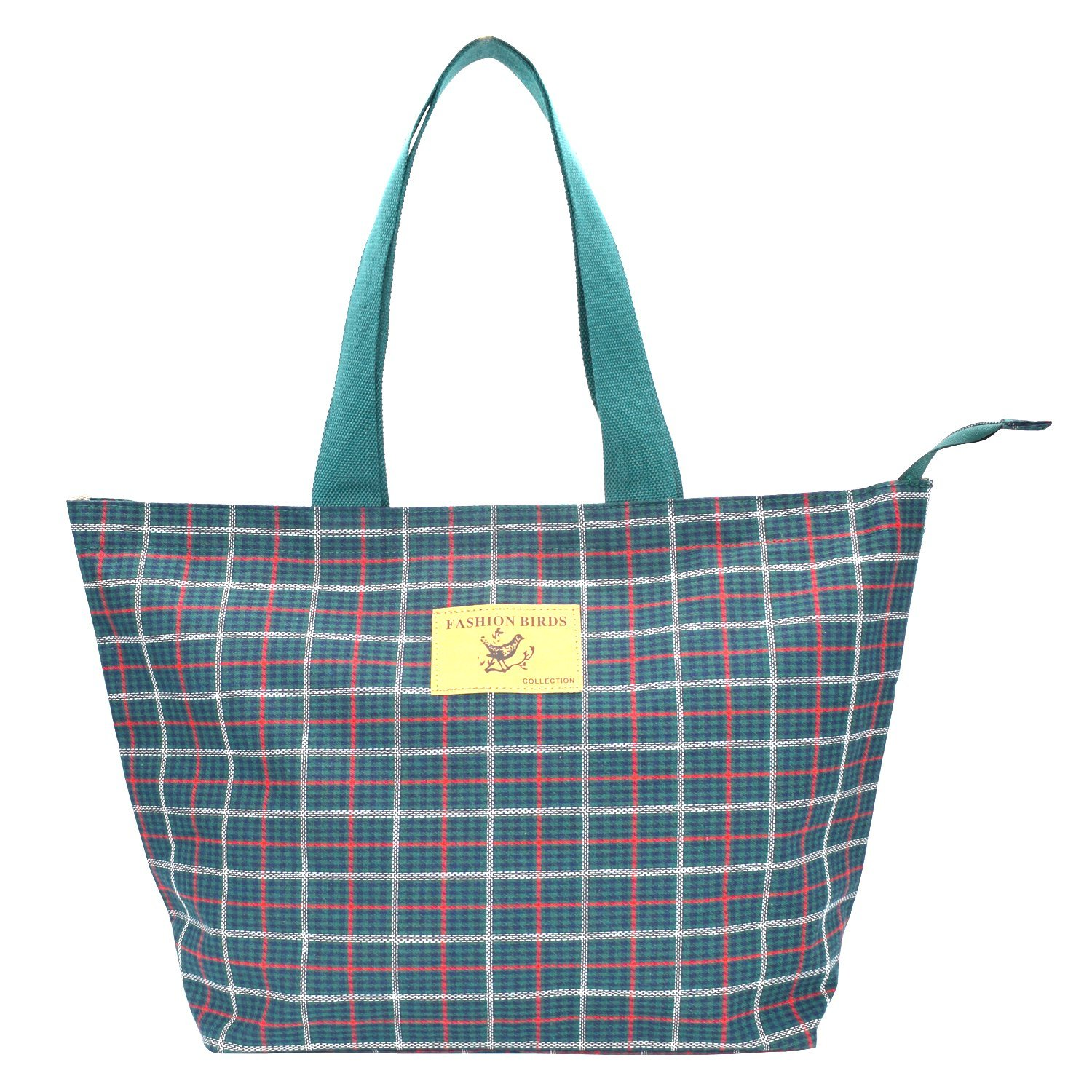 Micoop Check Pattern Large Waterproof Tote Bag Shoulder Bag with Zipper Closer for Shopping Beach Travel (Green)
