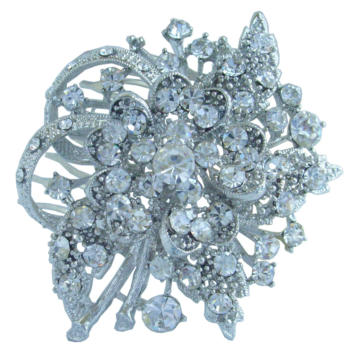 Sindary 2.56'' Silver Tone Clear Rhinestone Crystal Bridal Flower Hair Comb Wedding Headpiece HZ4646