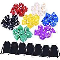 49 Pieces Multicolor Polyhedral Dices Game Dices for Dungeons and Dragons DND MTG RPG with 7 Pack Black Pouches, 7 Sets of D20, D12, 2 D10 (00-90 and 0-9), D8, D6 and D4