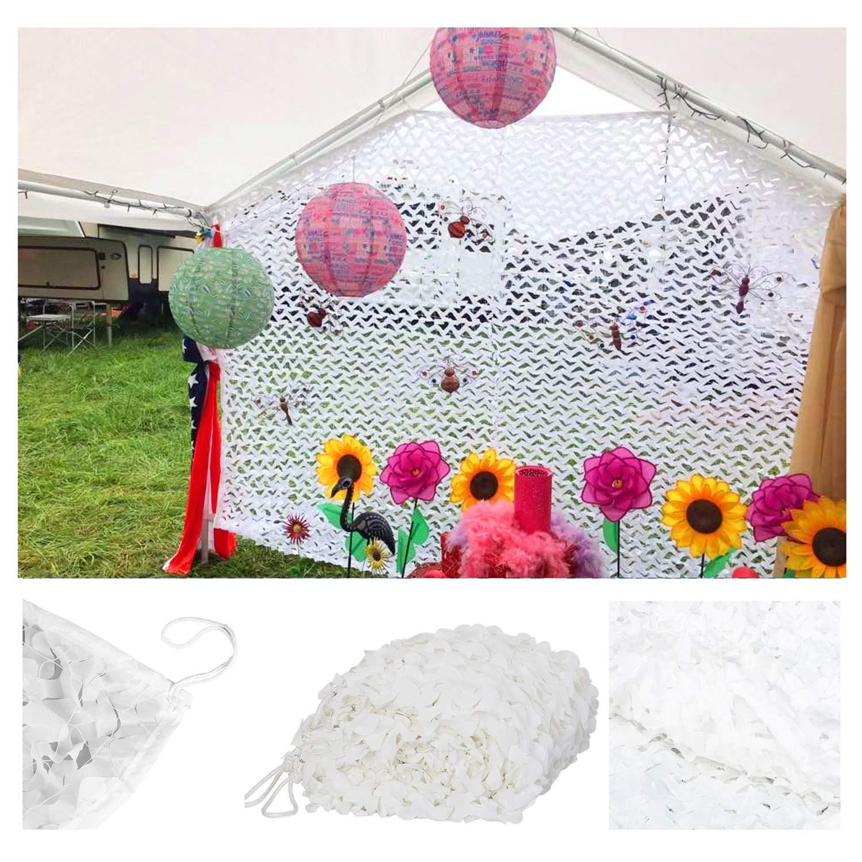 610M Filet de Camouflage Blanc, Auvents Pare-soleil Filet écran Solaire Maille Tente Tissu Oxford pour Jardin Clôture Chambre D'enfant Décoration Plafond Camping en Plein Air Plusieurs Tailles 2m 3m 4m