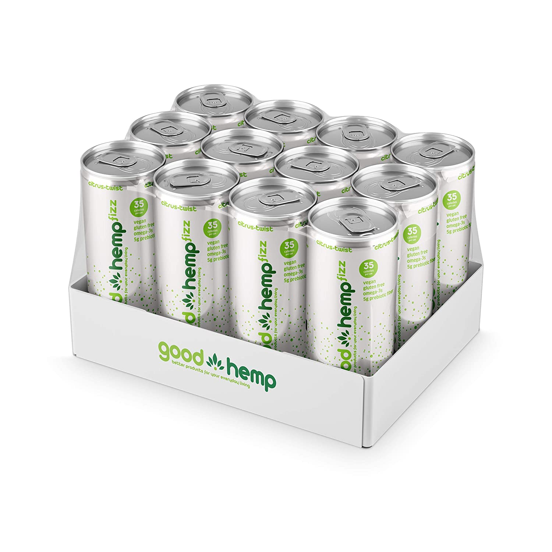 Good Hemp Fizz Low Calorie Carbonated Energy Drink – Vegan Preworkout Energy Shot and Gluten Free Stevia Energy Drink with Hemp Seed Oil & Prebiotic Fiber – Citrus Twist – 12 oz, 12 Pack