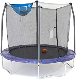Skywalker Trampolines 8-Foot Jump N' Dunk Trampoline with Enclosure Net– Basketball Trampoline