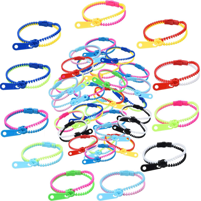 Jetec 60 Pieces Zipper Bracelet Friendship Fidget Bracelet Party Sensory Bracelet Toys Favors for School Students Kids Birthday, Mixed Colors