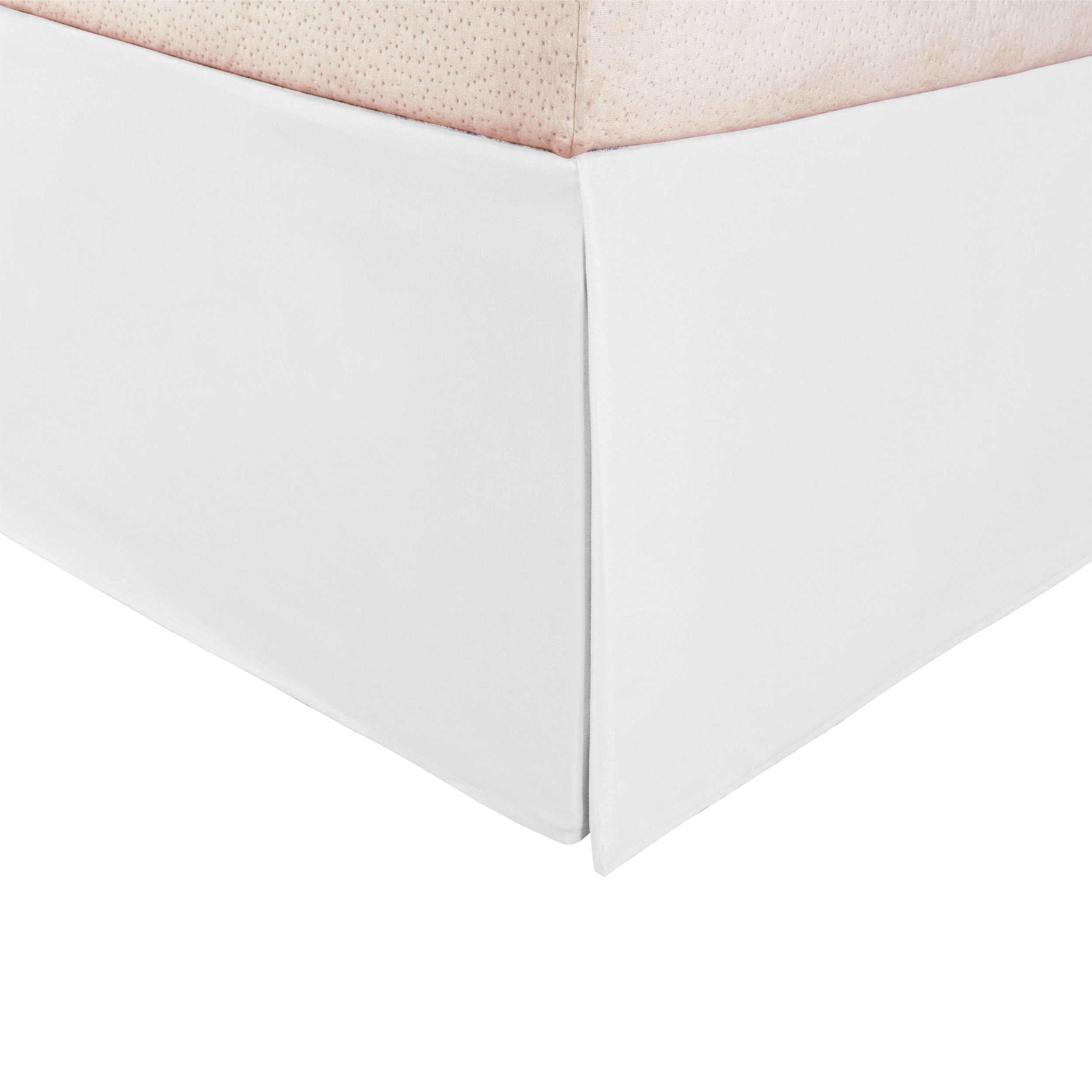 """Superior 1500 Series Premium Quality 100% Brushed Microfiber Bed Skirt with 15"""" Drop, Pleated Sides and Split Corners, Fade and Wrinkle Resistant - Queen, White"""