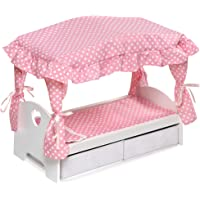 Badger Basket Canopy Doll Bed with Two Storage Baskets