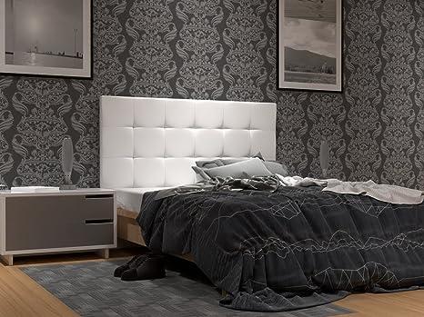 LA WEB DEL COLCHON Cabecero de Cama tapizado Acolchado Corfú (Cama 135) 145 x 70 cms. Polipiel Color Blanco. Incluye herrajes para Colgar con ...