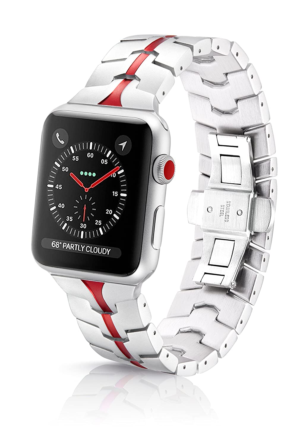 42/44mm JUUK Ruby Silver Vitero Premium Watch Band Made for The Apple Watch, Using Aircraft Grade, Hard Anodized 6000 Series Aluminum with a Solid ...