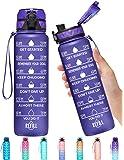 Elvira 32oz Motivational Fitness Sports Water Bottle with Time Marker & Removable Strainer,Fast Flow,Flip Top Leakproof…