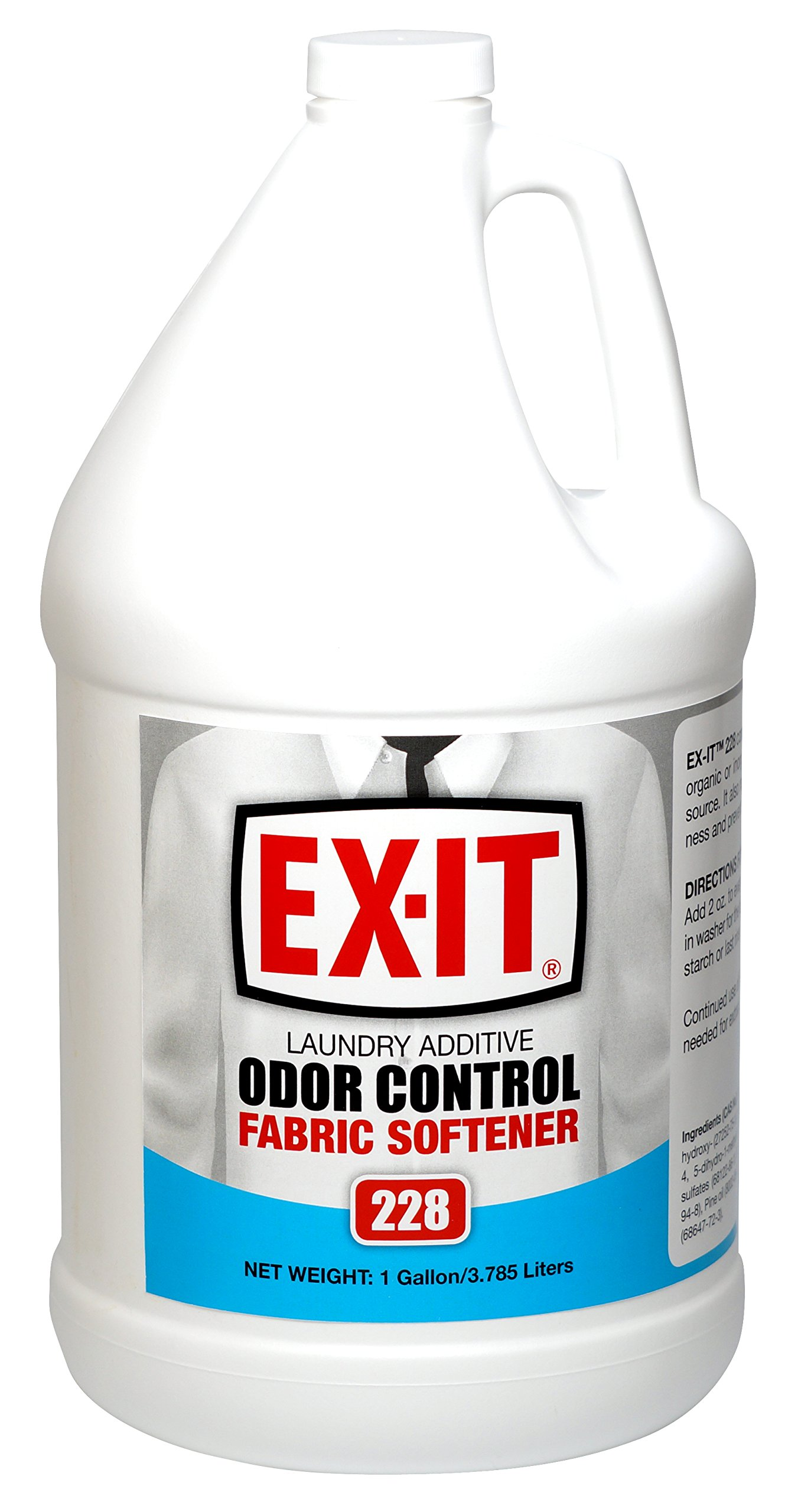 Big D 8228 EX-IT Laundry Additive Odor Control Fabric Softener, 1 Gallon (Pack of 4) - For professional and institutional launderers