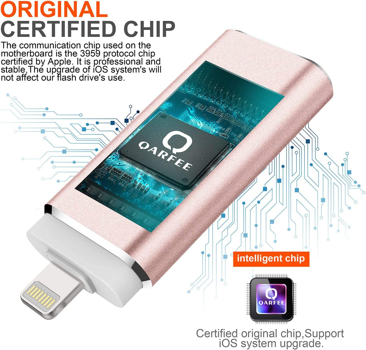 Photo Stick,QARFEE USB Jump Drive Thumb Drive Memory Stick External Storage iOS Flash Drive 32 GB Compatible for iPhone,iPad,iPod,Mac,iOS//Android Cell Phone and PC Type-c Gold