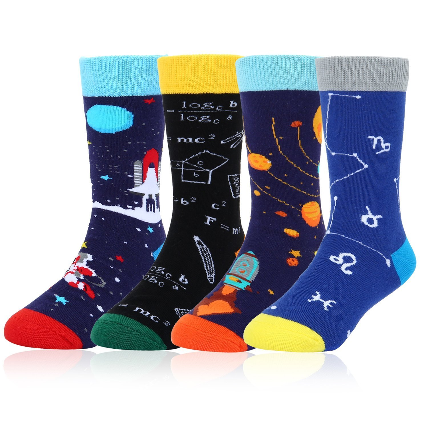 Boy's Children Novelty Funny Crew Socks Cool Space Sport Cotton Socks 4 Pack with Gift Box