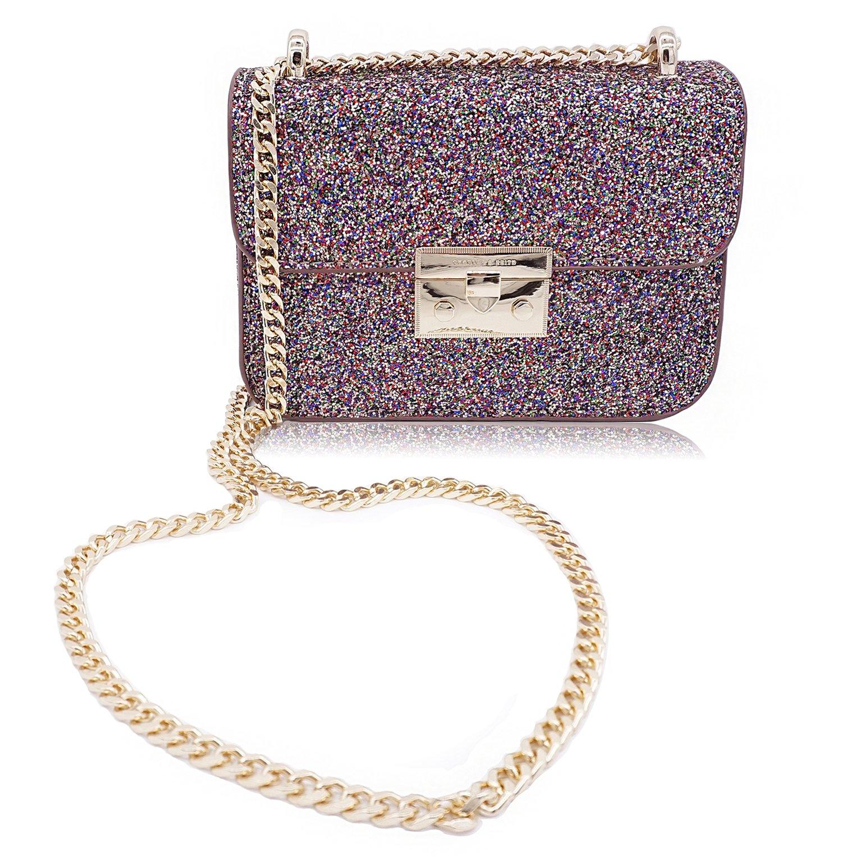 LIKE IT LOVE IT Chain Purse Evening Bag Small Shoulder Crossbody Bag for Women Glitter Purse Clutch (Pink)