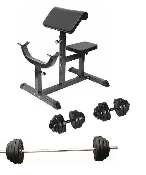 Curl banco + bíceps Curl barra + juego de mancuernas 30 kg pesas ...