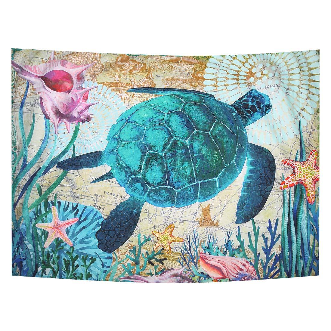 Zeronal ウミガメタペストリー 楽しい曼荼羅 壁掛けタペストリー 壁アート装飾 ビーチ/ソファーカバーアップ テーブルランナー/布 ホームデコレーション 59 x 79 inch(150cm x 200cm) ブルー 59 x 79 inch(150cm x 200cm) Turtle02 B07PLWWY4T