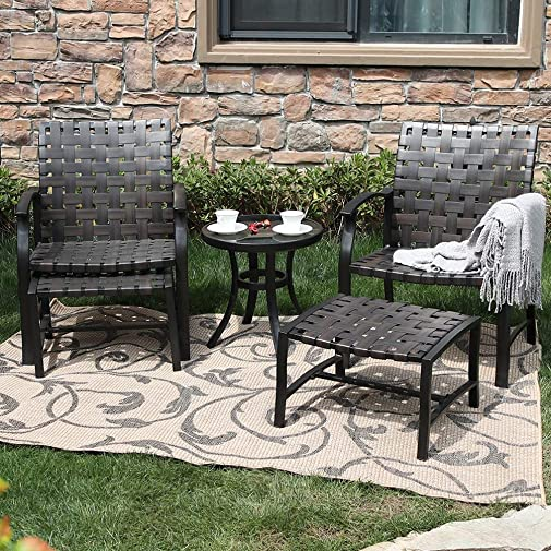 MFSTUDIO 5pcs Outdoor Patio Furniture Conversation Dining Set Strapping Chairs and Ottoman