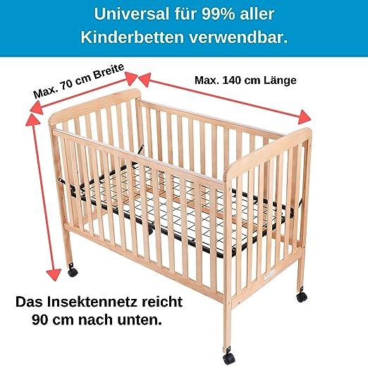 Insektenschutz f/ür Kinderbetten mit Himmel bis 70x140cm in wei/ß Rundumgummizug /• Universal Kinderbett Reisebett Bett M/ückennetz Moskitonetz