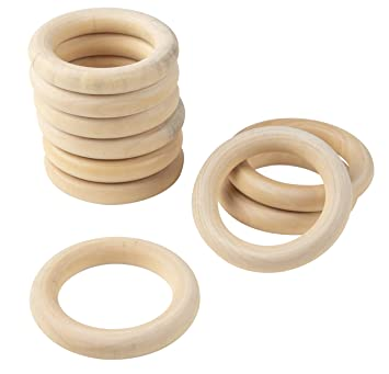 Wooden Rings For Crafts 30 Count Unfinished Wood Rings 3 Inch Solid Wooden Craft Rings 3in Large Wooden Rings For Diy Jewelry Making Ring Pendant