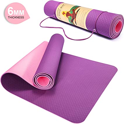 Amazon Com Pretigo 6mm Extra Thick Yoga Mat For Women Non Slip Exercise Fitness Mat With Carrying Strap High Density Workout Mat For Yoga Pilates Floor Exercises 72 X 24 X