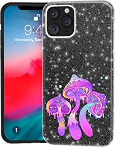 Mertak Glitter Case for Apple iPhone 11 Pro Max 10 Xr Xs X 8 Plus 7 6s Cover Red Psychedelic Mushrooms Slim Shiny Silicone Magic Gold Rose Art Black Crystal Trippy Sparkly Lightweight Silver Bling TPU
