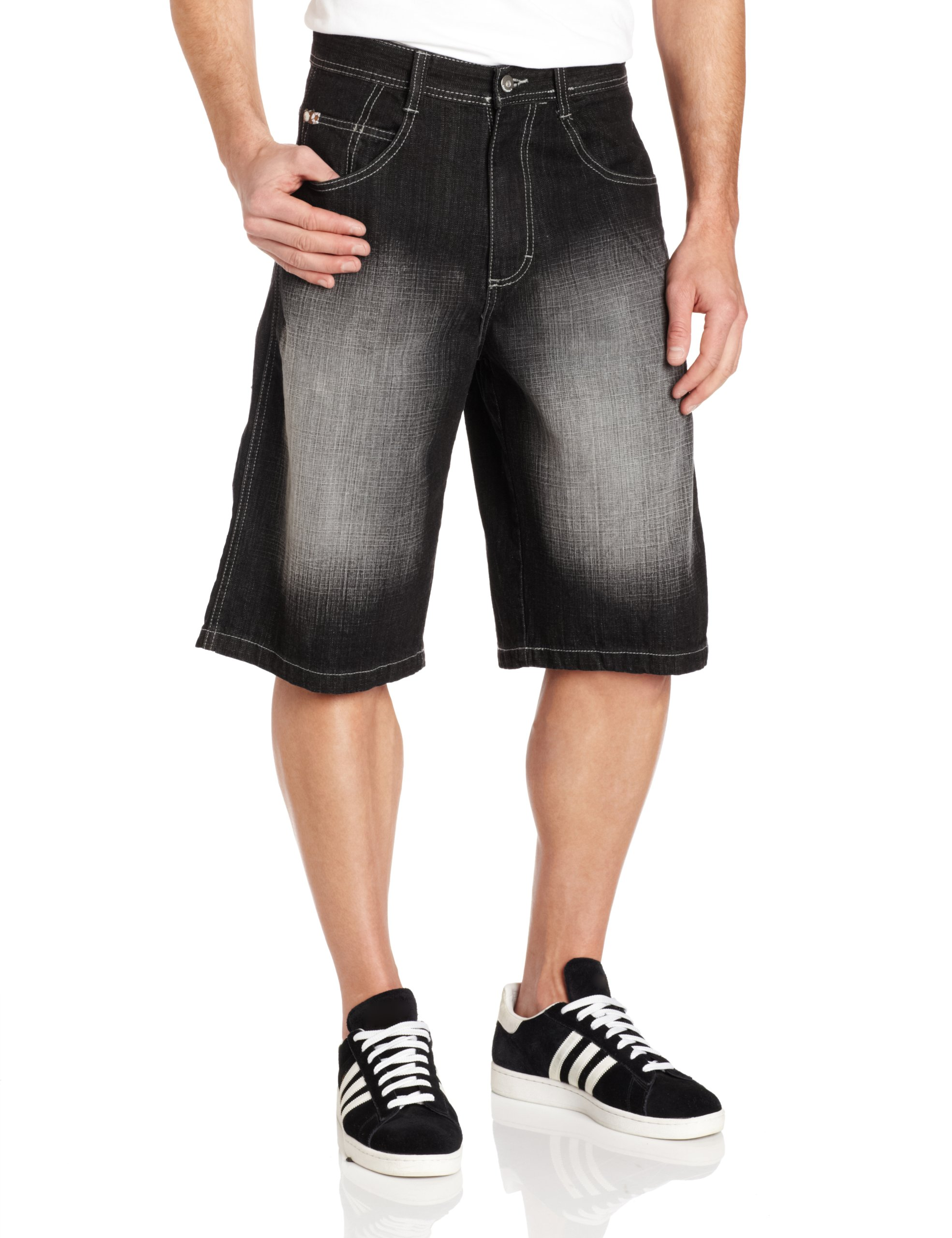 Southpole Men's Core Denim Short, Black Sand, 38