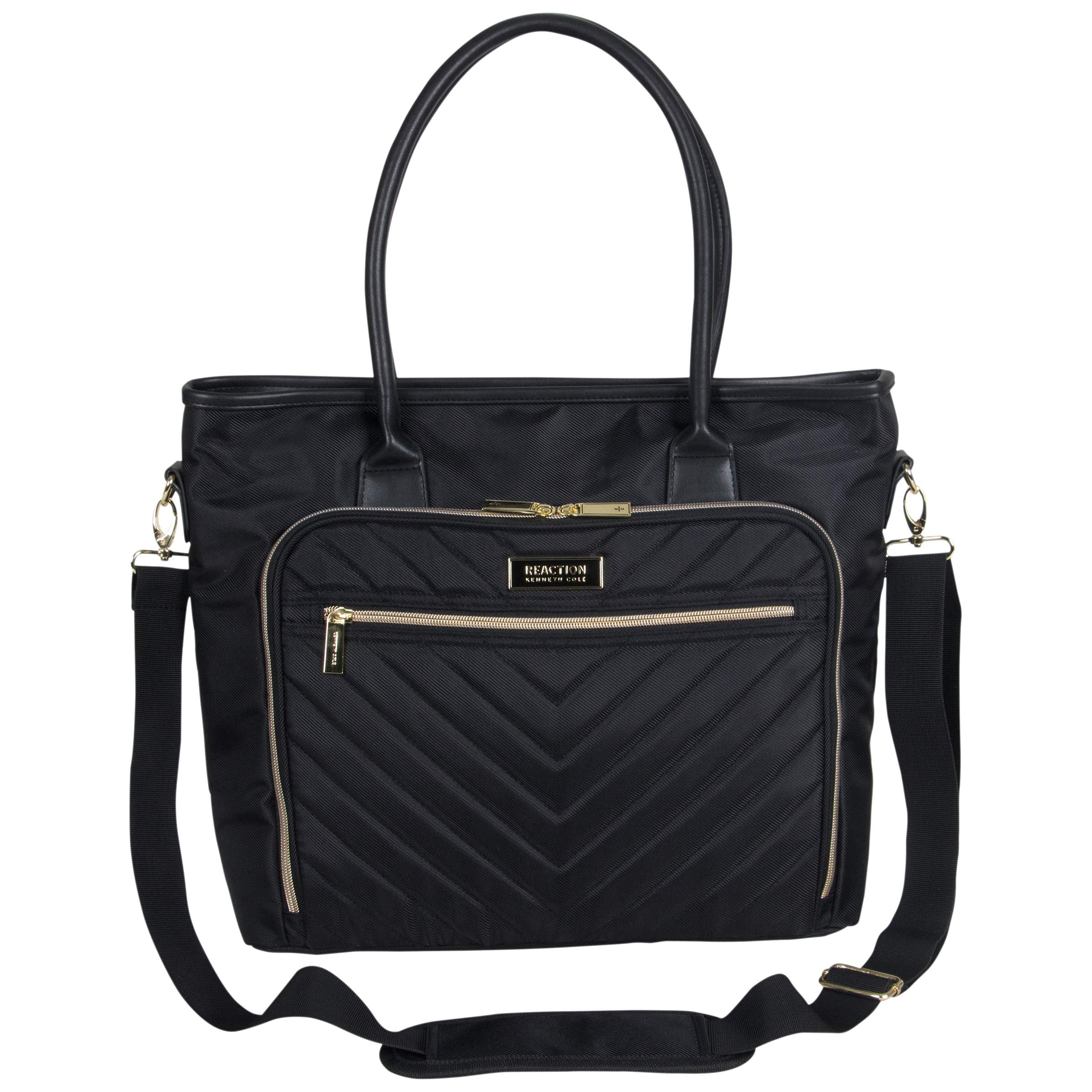 """Kenneth Cole Reaction Twill with Quilted Chevron 15"""" Laptop Tote Black One Size"""