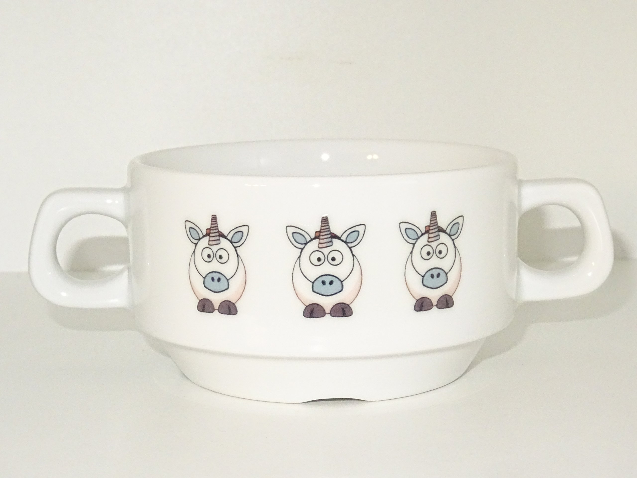 Soup Bowl 17, 1 pcs, Unicorn Soup Bowl Small Baby Child Kids, Bottom, Hidden Message, Secret Message, Animal,Donkey, Cartoon, Cute Animals, Farm, Horse, Kids, Porcelain by topmug (Image #3)