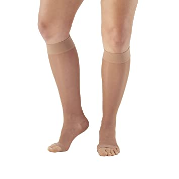 0ffd42338 Ames Walker Women s AW Style 41 Sheer Support Open Toe Compression Knee High  Stockings - 15