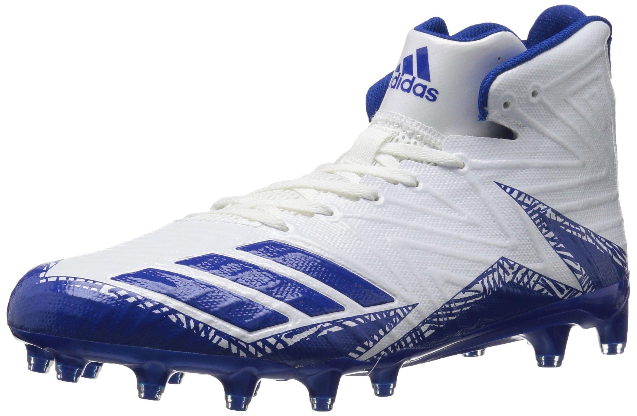 adidas Men's Freak X Carbon Mid Football Shoe, White Collegiate Royal, 14 Medium US