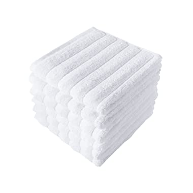 Classic Turkish Towels 6 Piece Luxury Washcloth Towel Set - 13 x 13 Inch Soft and Thick Large Bath Towel Washcloths Made with 100% Turkish Cotton (White)