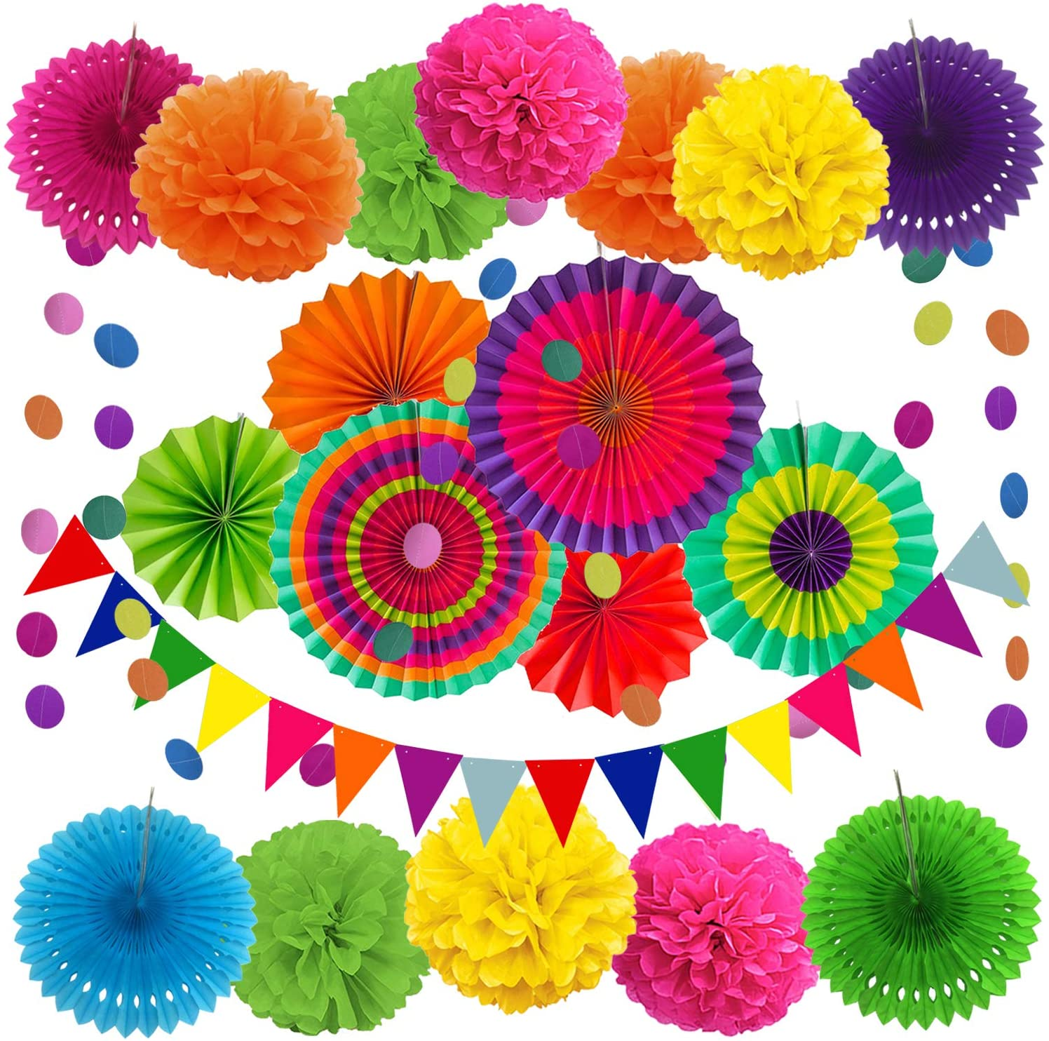 ZERODECO Party Decoration, 21 Pcs Multi-color Hanging Paper Fans, Pom Poms Flowers, Garlands String Polka Dot and Triangle Bunting Flags for Birthday Parties, Wedding Décor, Fiesta or Mexican Party