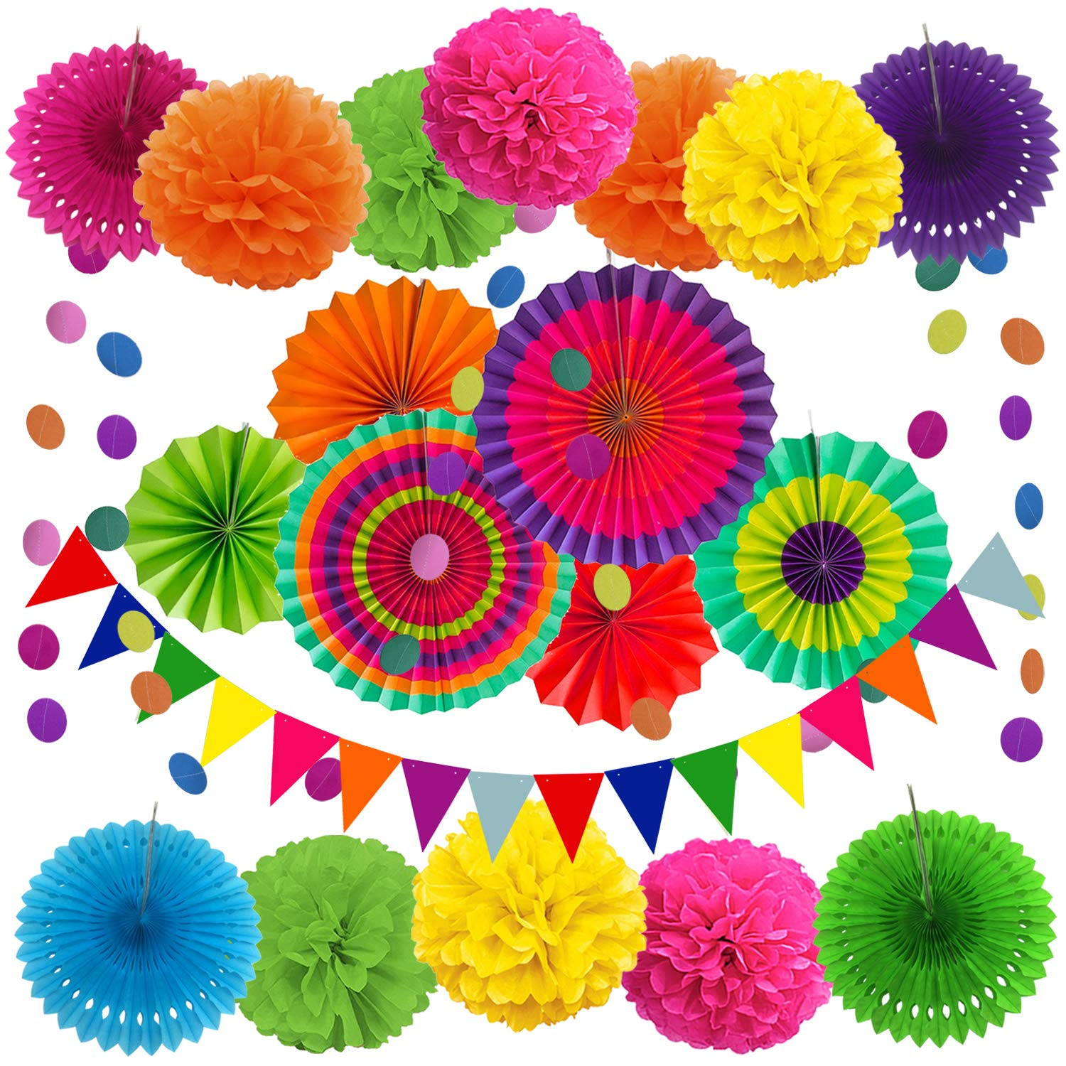 ZERODECO Party Decoration, 21 Pcs Multi-color Hanging Paper Fans, Pom Poms Flowers, Garlands String Polka Dot and Triangle Bunting Flags for Birthday Parties, Wedding Décor, Fiesta or Mexican Party by Zerodeco