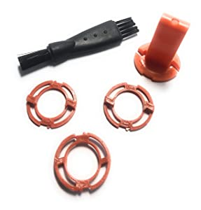 Stellate Orange Lock-Rings Compatible with Philips Norelco Shavers Series S7000, S8000,S9000, RQ12 Plus, SH90/62 + Bonus Cleaning Brush and Holder/Un-lock Tool