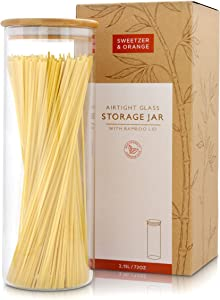 Sweetzer & Orange Glass Container with Lid, Bamboo Top (2.2 L) - Dry Food Storage Pasta Container Kitchen Canister for Bow Tie Pasta, Spaghetti, Macaroni, Rotini, Egg Noodles, Cookies, Candy, Flour