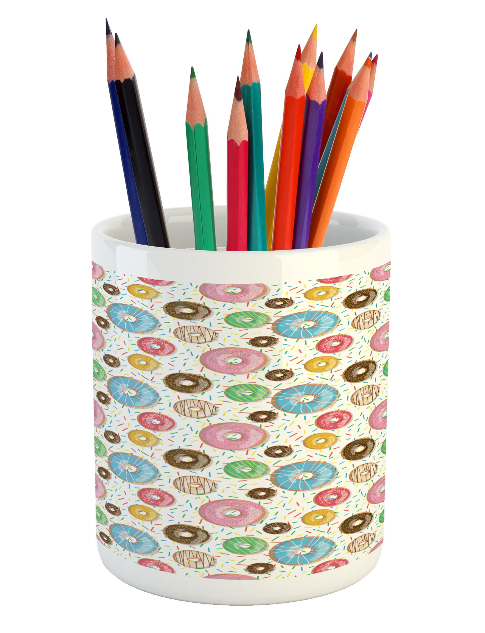 Lunarable Dessert Pencil Pen Holder, Tasty Chocolate and Cream Glazed Doughnuts with Sprinkles Pattern Delicious Bakery, Printed Ceramic Pencil Pen Holder for Desk Office Accessory, Multicolor