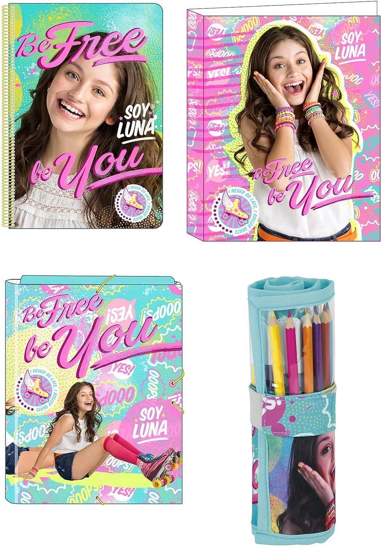 Soy Luna Disney carpeta A4 Caja + Grapadora + – Cuaderno de espiral + 27 piezas estuche (56): Amazon.es: Electrónica