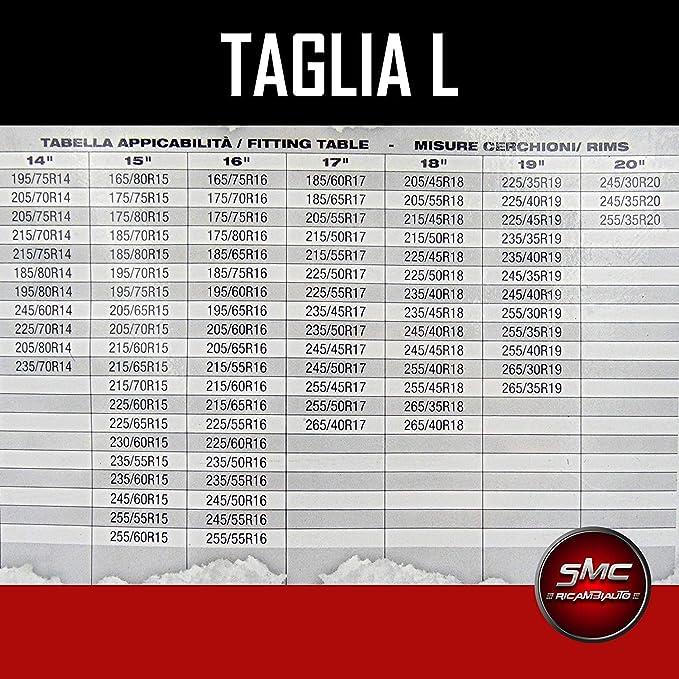 CALZE DA NEVE OMOLOGATE SMC PER PNEUMATICI 215 65 R 15 TAGLIA L
