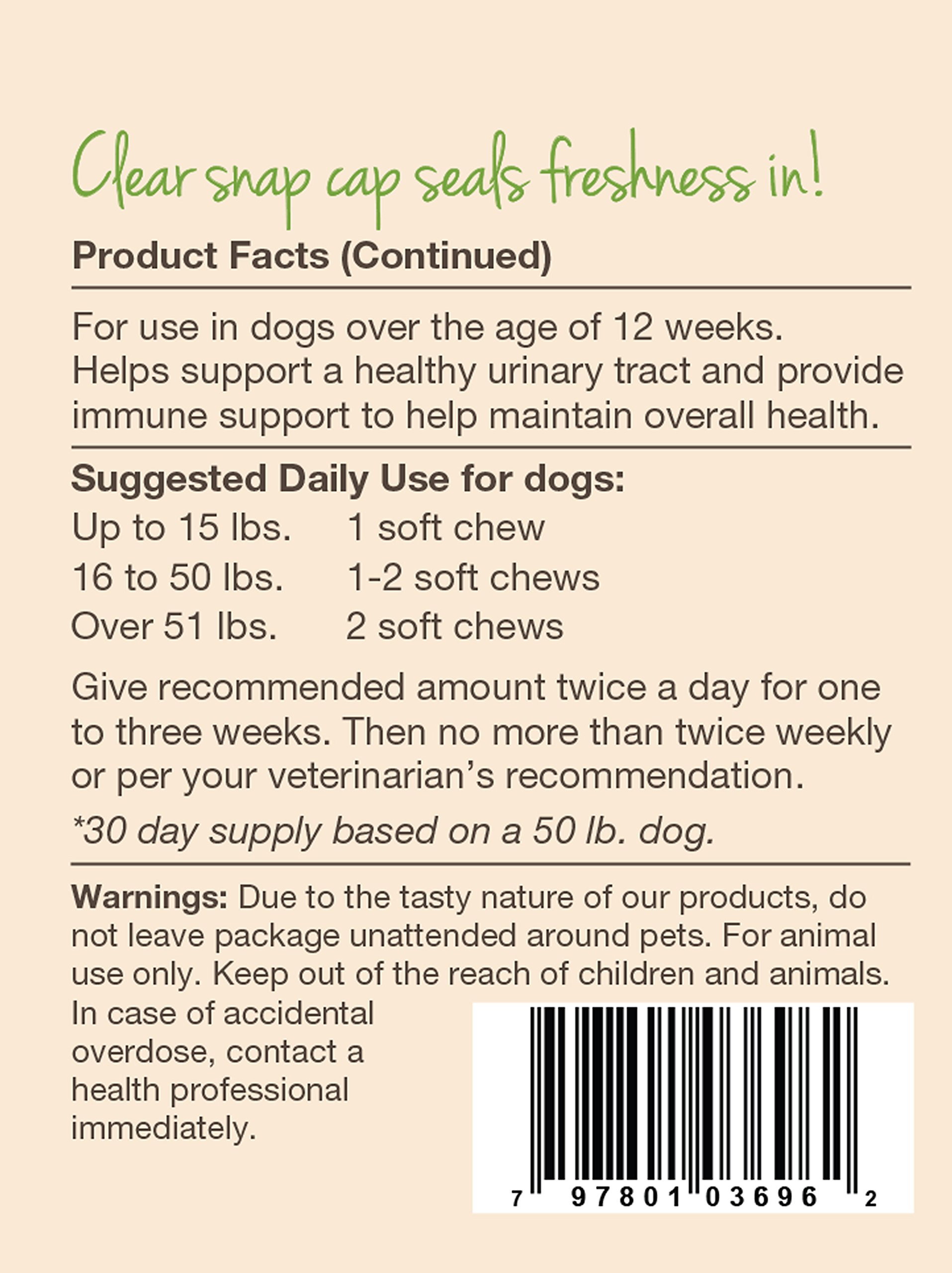 NaturVet Urinary Health Supplement Soft Chews for Dogs, Healthy Bladder & Urinary Tract Support with Cranberry & Echinacea, Made by NaturVet (Image #3)