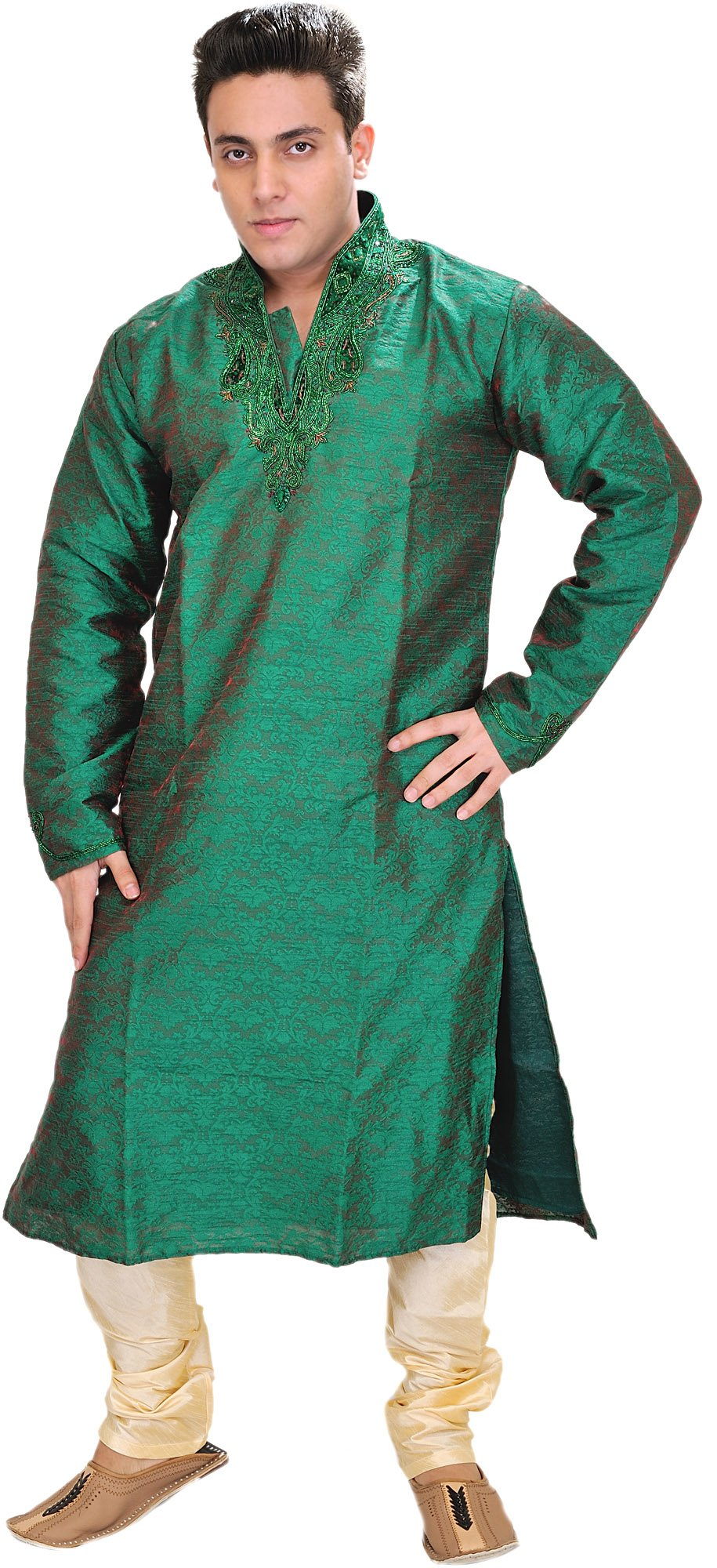 Exotic India Forest-Green Wedding Kurta Pajama with Han Size 40