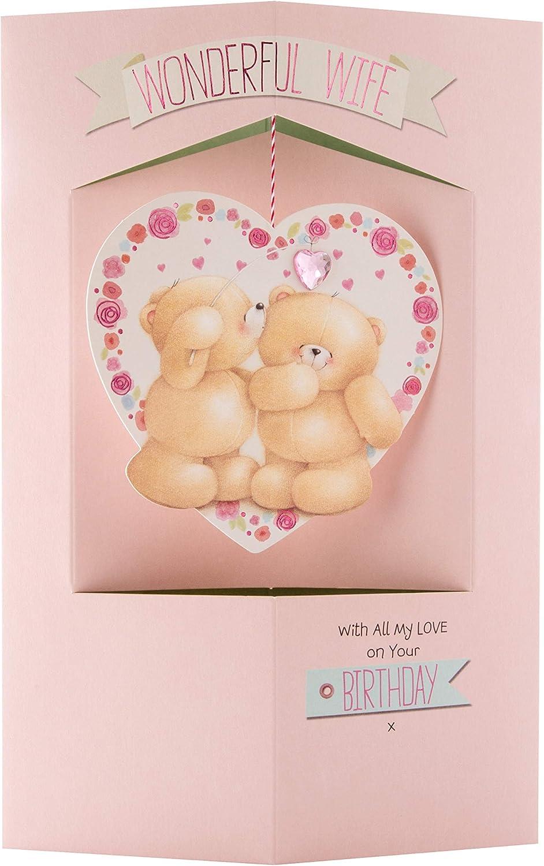 Contemporary Floral Heart Design Hallmark Anniversary Card for Wife