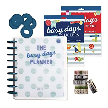 Busy Days Planner Gold Starter Set  2018 life planner with UK dates &  holidays  Disc Bound Planner System  Beautiful sticker books  Washi tape