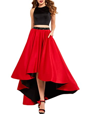 Nicefashion Womens Jewel Black Top Open Back Hi-Lo Semi Formal Prom Gowns with Red