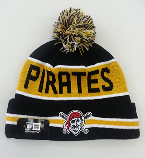 6c52331397d Image Unavailable. Image not available for. Color  Pittsburgh Pirates  Striped Cuffed Pom Knit Beanie Cap