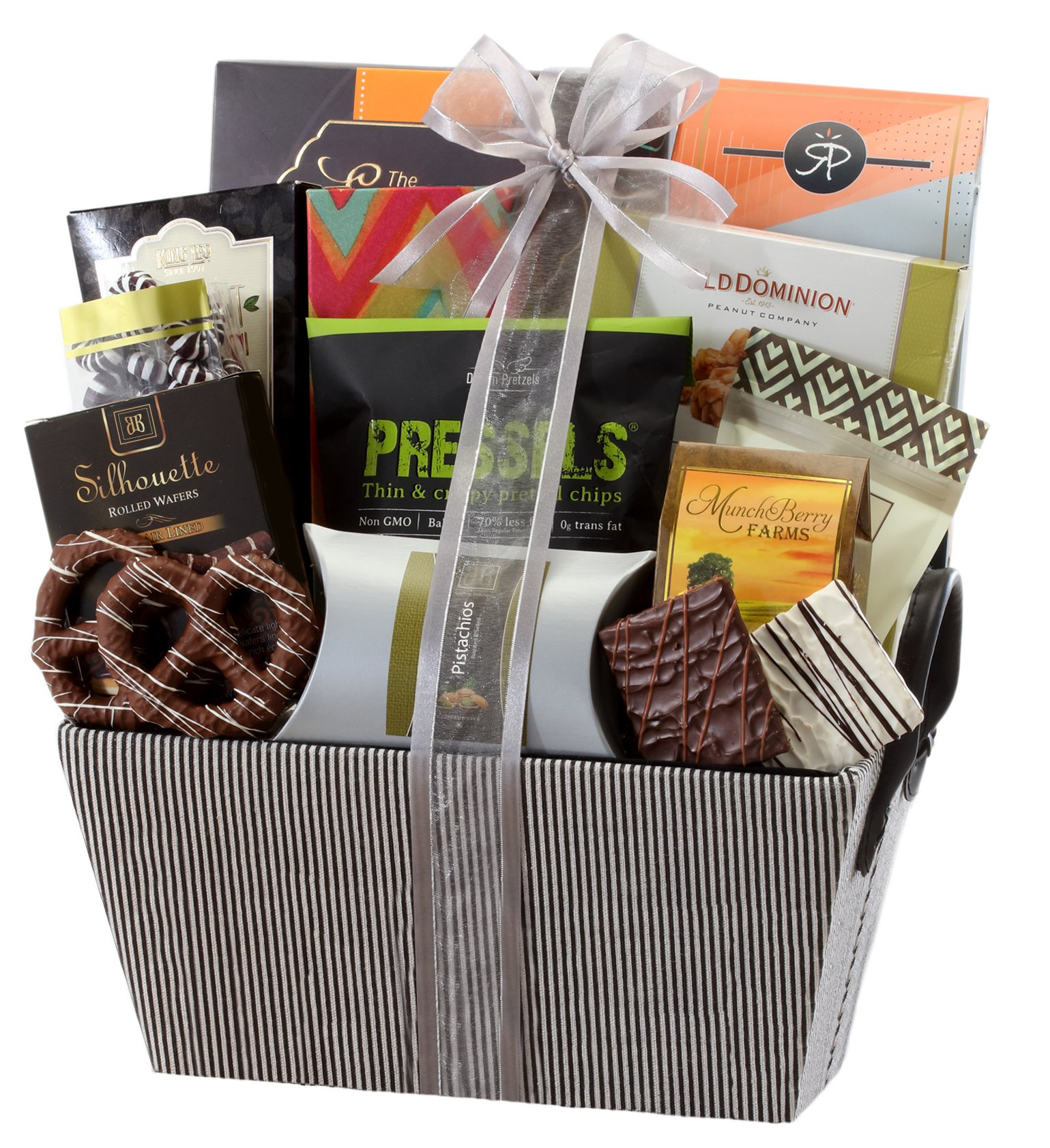Sweet and Savory Gift Basket with Chocolates, Seasoned Nuts, Brittle, Pastries, Assorted Sweets & Snacks by Broadway Basketeers (Image #1)
