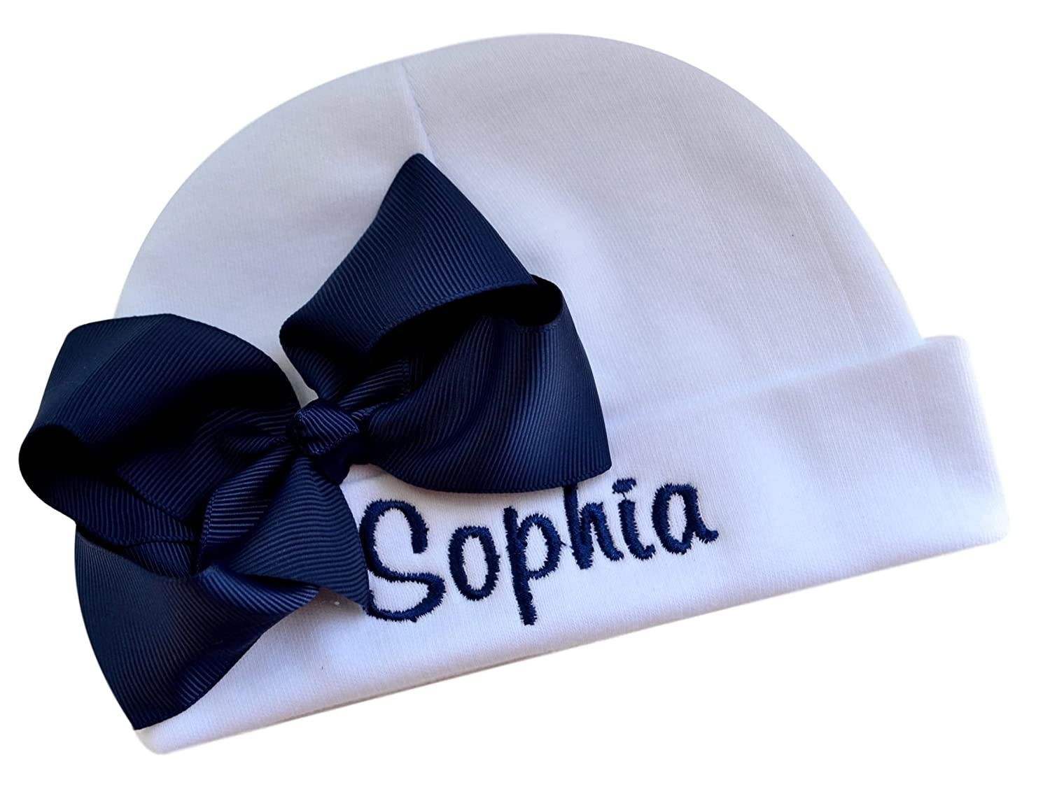 Personalized Embroidered Baby Girl Hat with Grosgrain Bow with Custom Name embhatgrosgbow-fgd-15