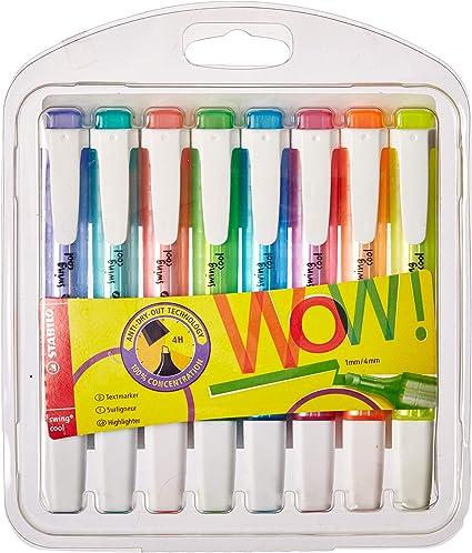 Marcador fluorescente STABILO swing cool - Estuche con 8 colores: Amazon.es: Oficina y papelería