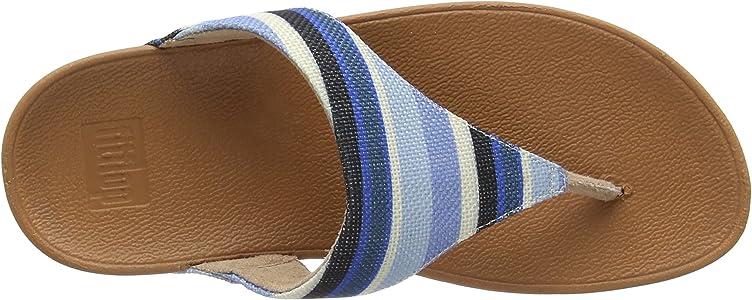 a642b981c6da82 Women s Lulu Toe-Thong Sandals-Stripey Canvas Open. Fitflop Women s LULU Toe-Thong  Sandals-Stripey Canvas Open Blue ...