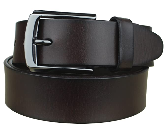 fa41deaef7ad Bullko Men's Casual Genuine Leather Belt Dark Brown Dress Classic Buckle  32-34