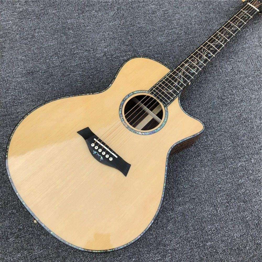 ABMBERTK , Guitarra, Guitarra acústica Natural916, diapasón de ébano, Guitarra de Abeto Macizo, Incrustaciones de abulón, Guitarra y Pulgadas A11,41