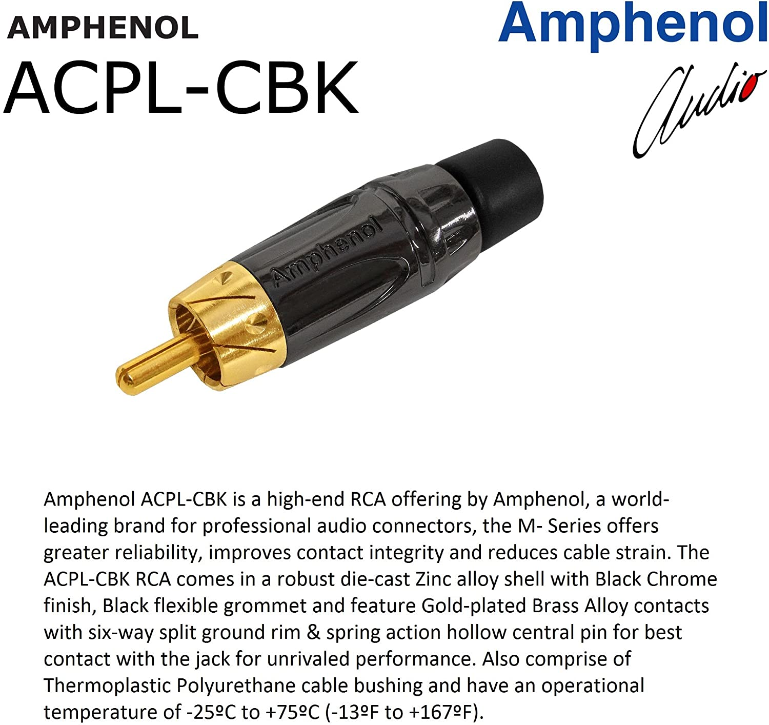 Directional Gold Plated RCA Connectors Black 1 Foot RCA Cable Pair Gotham GAC-4//1 Star-Quad Audio Interconnect Cable with Amphenol ACPL Black Chrome Body