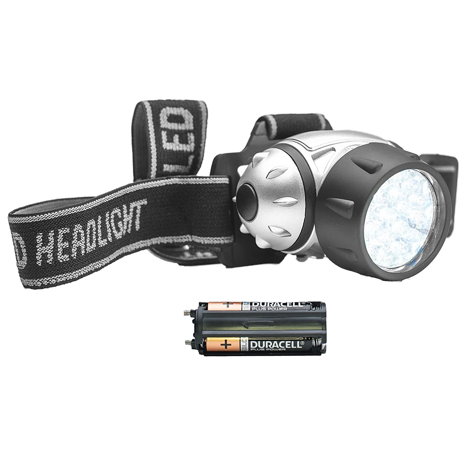 21 LED Headlamp with 4 Light Modes | Water-Resistant Outdoor Head Torch LED for Running, Camping, Cycling | Durable, Lightweight & Adjustable for Runners | by STAY Active - with Batteries (Silver)